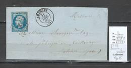 France - Lettre - Yvert 14 - PC56 - AMANCEY - Doubs - Type 15  - 1862 - Marcofilia (sobres)