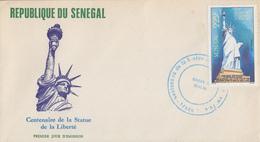Enveloppe FDC  1er JOUR    SENEGAL    Statue  De  La  LIBERTE   1986 - Sénégal (1960-...)