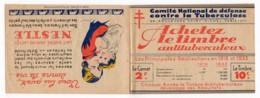Carnet Complet De 20 Vignettes Neuves Antituberculeux 1933 Avec Publicité Nestlé Et Heudebert - Erinnofilia