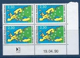 """FR Coins Datés Service YT 104 """" Carte Et étoiles """" Neuf** Du 19.04.90 - Servicio"""