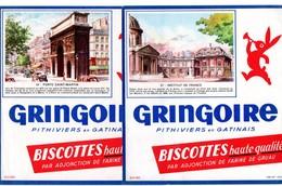 Lot  De 2 Buvards Gringoire. Paris. Institut De France Et Porte Saint-Martin. - Biscottes