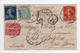 - CARTE-LETTRE RECOMMANDÉE NANCY Pour BIGLEN (Suisse) 11.7.1907 - Bel Affranchissement A ETUDIER - - Biglietto Postale