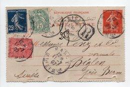 - CARTE-LETTRE RECOMMANDÉE NANCY Pour BIGLEN (Suisse) 11.7.1907 - Bel Affranchissement A ETUDIER - - Postal Stamped Stationery
