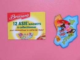 Magnet - Savane Brossard - Carte De L'Asie - Japon - Corée Du Sud - Panthère Noire - Animaux & Faune