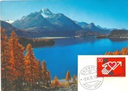 """AK  """"Herbsttag Am Silsersee""""  (Stempel Rhät. Bahn)         1975 - Ferrovie"""