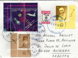 Pioneer 11,sonde Spatiale Vers Saturne & NASA Space Shuttle, Lettre Du Kazakhstan Adressée Andorra Avec Timbre à Date - Kazakhstan