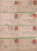 8 Carte Lettre Entier Semeuse Camée 10c Rouge Type 138 CL1 Epinal à Paris 1907-09 - Letter Cards