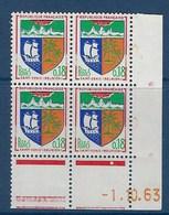 """FR Coins Datés YT 1354A """" Armoiries, Saint-Denis De La Réunion """" Neuf** Du 1.10.63 - 1960-1969"""