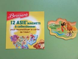 Magnet - Savane Brossard - Carte De L'Asie - Mongolie - Girafe - Animales & Fauna