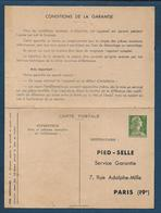Entier 12 Fr Muller  Timbré Sur Commande PIED SELLE - 1956 - Postwaardestukken