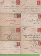 8  Entier Semeuse Camée 10c Rouge Type 138 CL1 Vichy, Nancy, Fontainebleau, Epinal,Bayonne, Montmorency 1907-10 - Letter Cards