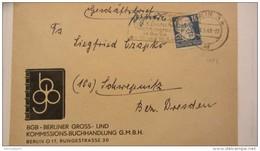 "SBZ: Geschäfts-Brief Mit 16 Pfg Köpfe I In Selt. Farbe ""hellgrün Quarzend"" Mit MWSt. BERLIN N4 Vom 13.5.49  Knr: 218 B - Zone Soviétique"