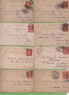 8  Entier Semeuse Camée 10c Rouge Type 138 CL1 Vichy, Paris 1907-09 - Letter Cards