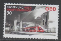 AUSTRIA, 2014, MNH, TRAINS, VIENNA MAIN TRAIN STATION, 1v - Trains