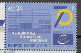CYPRUS, 2019, MNH, COUNCIL OF EUROPE,1v - Organizations