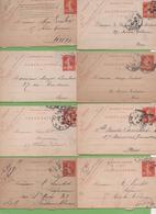8  Entier Semeuse Camée 10c Rouge Type 138 CL1  Paris 1907-11 - Letter Cards