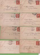 8  Entier Semeuse Camée 10c Rouge Type 138 CL1  Paris 1907-10 - Letter Cards