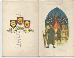 Forces Belges En Allemagne 1ère Brigade. Siegen. Soldats Feu De Camp, Sentinelle, Voiture Radio. Signée Bizuth - Régiments
