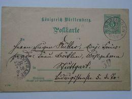 ZA250.18  Postkarte  1894   Böblingen - Ganzsache   Königreich Württemberg  5 Pf.  Nach Stüttgart - Covers & Documents