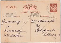 1941 / Entier Iris Interzone / Censure + Retour Envoyeur / De Marnay 70 Pour Isserpent 03 Allier - 1939-45