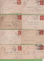 8  Entier Semeuse Camée 10c Rouge Type 138 CL1  Paris 1908-11 - Letter Cards