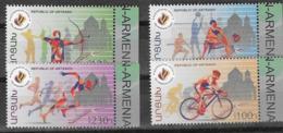 NAGORNO KARABAKH, ARTSAKH , 2019, MNH, PAN-ARMENIAN GAMES, TRACK EVENTS, CYCLING, VOLLEYBALL, ARCHERY,4v - Art