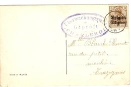 Belgique Gov. Gén. 14/18 - CP Avec Cachet Censure Uberwachungsstelle - Geprüft - Charleroi - [OC1/25] General Gov.