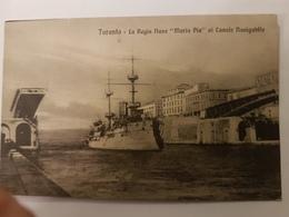 CPA TARANTO REGIA NAVE MARIA PIA AL CANALE NAVIGABILE BATEAU GUERRE ITALIE - Warships