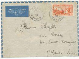 INDOCHINE ENV 1939 DOSON TONKIN LETTRE AVION => ST BEAUZIRE HAUTE LOIRE MASCICITEE EN BAS - Storia Postale