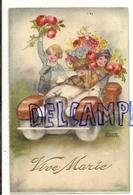 Enfants Dans Un Voiture Remplie De Fleurs. Vive Marie. Signée Hannes Petersen. 1934 - Petersen, Hannes