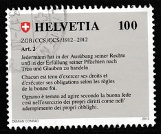 Switzerland 2012 The 100th Anniversary Of The Swiss Civil Code 100 C Multicolored SW 2230 O Used - Switzerland