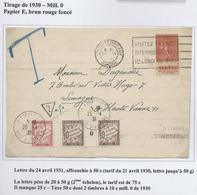Lettre (1931) 2ème échelon, Affranchie à 50 Cts Et Taxée à 50 Cts, Dont 10 Cts Brun Millésime 0 De 1930 - Lyon à Limoges - Impuestos