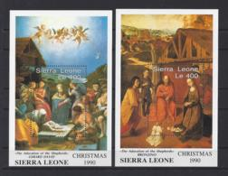 """SIERRA LEONE...QUEEN ELIZABETH II.(1952-NOW)...."""".1990 CHRISTMAS........""""...MINI SHEETS X 2 .....MH... - Noël"""