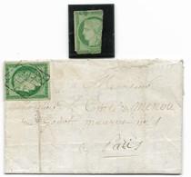 N°2 Sur Lettre Signée Calves + Très Défectueux, Voir Descriptif Et Photos - 1849-1850 Cérès