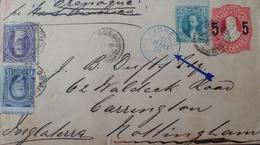 A288 - ✉️ BUENOS AYRES à NOTTINGHAM / PAQUEBOT L'ORENOQUE - Cachet Bleu LIGNE J PAQ. FR. N°4 23 MARS 1891 - - Poste Maritime