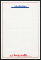 PAQUEBOT S/S NORMANDIE - FEUILLE DE PAPIER A LETTRE (EDITION COMMERCIALE) - Boats