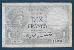 Billet 10 Francs Minerve Du  17 - 12 - 1936 - 1871-1952 Antichi Franchi Circolanti Nel XX Secolo
