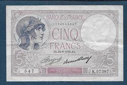 Billet 5 Francs Violet Du  24 - 8 - 1933 - 1871-1952 Anciens Francs Circulés Au XXème