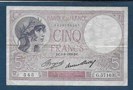Billet 5 Francs Violet Du  3 - 8 - 1933 - 1871-1952 Anciens Francs Circulés Au XXème