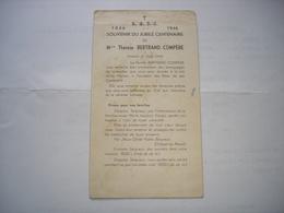 RARE !! NAOME ( BIEVRE BOUILLON BEAURAING ) - SOUVENIR CENTENAIRE THERESE COMPERE - 1946 - Announcements