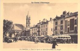 BUS & AUTOCARS - 15 - AURILLAC : Bon Plan Nombreux AUTOCARS Place Du Square - CPSM Sépia Format CPA - Cantal - Autobus & Pullman