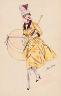CPA Aquarellée Femme Lady Glamour Women Girl Mode  Croquis De Printemps  Illustrateur X. SAGER Série N° 12 (2 Scans) - Sager, Xavier