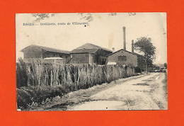 66 Bages RARE Cpa Distillerie Route De Villeneuve éditeur Navarro Dos Vert Scanné - Autres Communes