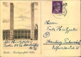 1945, Seltene Feldpostkarte Mit Abbildung Olympiastadion Gebraucht Ab BREDDIN 3.3.45 - Alemania