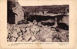 02 ..CAMPAGNE DE L'AISNE 1914 - 16 .. CE QUI RESTE DU CLOCHER DE V.. CADRAN DE PENDULE  F. PHILIPPE . MECANISME - Unclassified