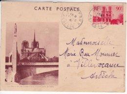 L120C_476 Bis - Entier Postal - Paris - Statue De Ste Geneviève Et Notre-Dame De Paris - Notre Dame Von Paris