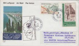 Andorra - Lufthansa Erstflug Zuleitungspost Bastia (Korsika) - München 1986 - Französisch Andorra
