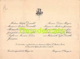 FAIRE PART MARIAGE ADOLPHE DEWALD ALEXANDRE LYDIE JULIEN JANSSENS GAND BRUGES DESIRE MEYERS 1928 - Mariage