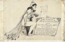 """CIRCA 1890 CARTE PUBLICITE  Par A.WILLETTE LA MUSE DE """"ED.SAGOT"""" GALERIE   PARIS EAUX FORTES LITHOGRAPHIES  V.HISTORIQUE - Documents Historiques"""