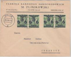 Generalgouvernement - 4x6 Gr. Überdruckausg. Firmenbrief Kielce Chemnitz 1941 - Ocupación 1938 – 45